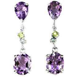 NATURAL AAA PURPLE AMETHYST & GREEN PERIDOT Earring