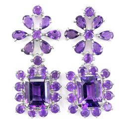 DAZZLING NATURAL AAA PURPLE AMETHYST FLOWER EARRING