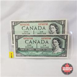 Canada $1 Bills 1954 - Sequential (2): AI9743744; AI9743745