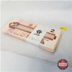 Canada $2 Bills 1986 Sequential in Bank Band : EGK9006300 >EGK9006396