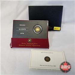 RCM 2005 1/25oz Gold Coin 50¢ - Voyageur (99.99% Pure Gold) COA#10677