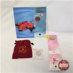 RCM Commemorative Coin Set 2007 + Creating A Future Without Breast Cancer 25¢/Pin/Bookmark + 2004 Qu
