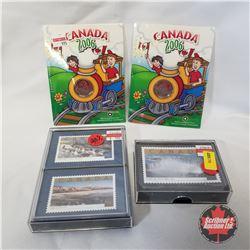 "Canada ""Stamp"" Playing Cards + Canada 2006 RCM Quarter Keepsakes w/Crayons (2)"