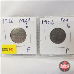 Canada Five Cent - Strip of 2: 1926 Near; 1926 Far