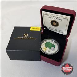 RCM 2010 $20 Fine Silver Coin - Maple Leaf Crystal Raindrop COA#00586/10000