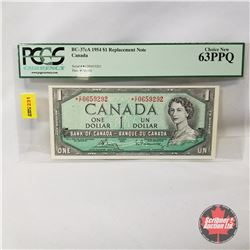 Canada $1 Bill 1954* Replacement : Bouey/Rasminsky *CF0659292 (PCGS Certified CHOICE NEW 63PPQ)
