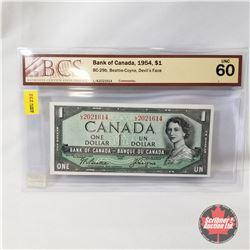 Canada $1 Bill 1954DF Beattie/Coyne LA2021614 (BCS Certified UNC60)