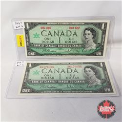 Canada $1 Bills 1967 Beattie/Rasminsky (2): Centennial 1867-1967 & GP6176056