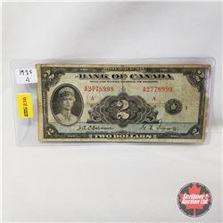Canada $2 Bill 1935 A Series : Osborne/Towers A2778999