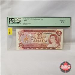 Canada $2 Bill 1974* Replacement : Lawson/Bouey *RE7036563  (PCGS Certified CHOICE NEW 63)