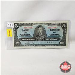 Canada $5 Bill 1937 : Gordon/Towers OC0033667