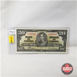 Canada $20 Bill 1937 : Coyne/Towers KE0140544