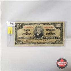 Canada $100 Bill 1937 : Gordon/Towers BJ0028274