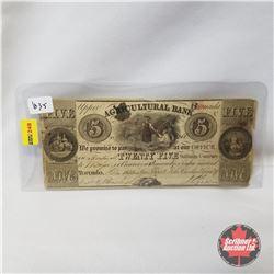 Upper Canada Agricultural Bank Twenty Five Shillings 1835
