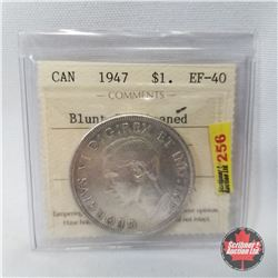 Canada One Dollar 1947 Blunt 7; Cleaned (ICCS Certified: EF-40)