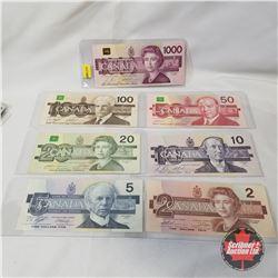 "Canada ""BIRD SERIES"" SET of 7 Bills!!!! $2, $5, $10, $20, $50, $100, $1000"
