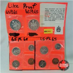 Canada 1965 Uncirculated Coins from Proof Like Sets (10 Coins): Fifty Cent (2); Twenty Five Cent (2)