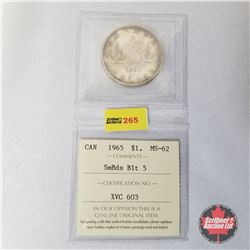 Canada One Dollar 1965  (ICCS Certified MS-62 SmBds Blt 5)