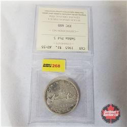 Canada One Dollar 1965  (ICCS Certified AU-55 SmBds Ptd 5)