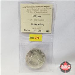 Canada One Dollar 1966  (ICCS Certified MS-63 Large Beads)