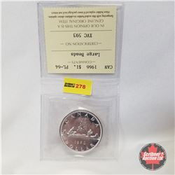 Canada One Dollar 1966  (ICCS Certified PL-64 Large Beads)