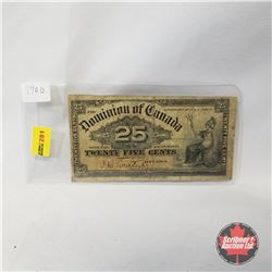 "Dominion of Canada 1900 Twenty Five Cent ""Shinplaster"""