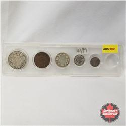 Canada Coins 1910 Set (50¢, 25¢, 10¢, 5¢, 1¢)