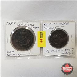 Bank of Upper Canada - Strip of 2: One Penny 1857 & One Half Penny 1857