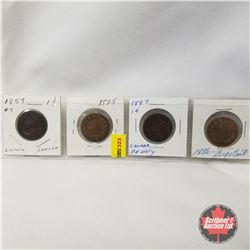 Canada One Cent - Strip of 4: 1859; 1888; 1887; 1886