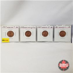 Canada One Cent - Strip of 4: 1957 Hanging 7; 1958 Double Hanging 8; 1959 Hanging 9; 1961 Hanging 1