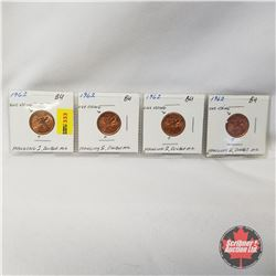 Canada One Cent 1962 - Strip of 4: One String-Hanging2-Double Mil