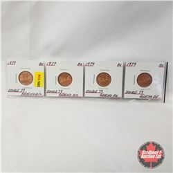 Canada One Cent 1979 - Strip of 4: Double 79 Rotating Die