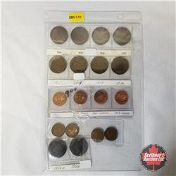 Canada One Cent (18 Coins): 1914; 1915; 1916; 1917; 1911; 1913; 1914; 1916; 1965 Cameo; 1966 Cameo D
