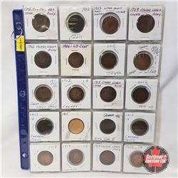 Canada One Cent -  2 Sheets (40 Coins): Large Cent: 1902 (2); 1903 (2); 1906 (2); 1910 (2); 1911; 19