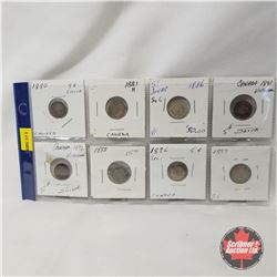 Canada Five Cent - Strip of 8: 1880; 1881H; 1886; 1891; 1892; 1893; 1896; 1899
