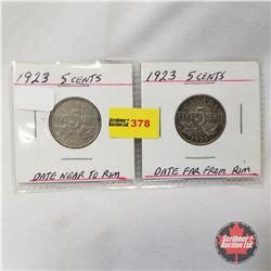 Canada Five Cent - Strip of 2: 1923; 1923 Far