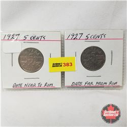 Canada Five Cent - Strip of 2: 1927; 1927