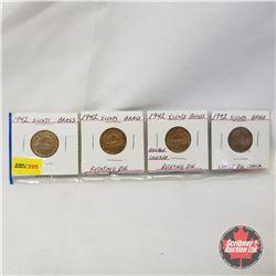 Canada Five Cent - Strip of 4: 1942; 1942 Rotating Die; 1942 Rotating Die (Double Canada); 1942 Die