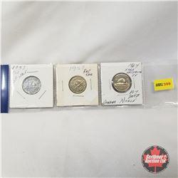 Canada Five Cent - Strip of 3: 1953 SF Near; 1957 Bug Tail; 1964 EWL