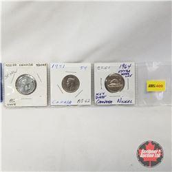 Canada Five Cent - Strip of 3: 1953 SF Near; 1951; 1964 EWL