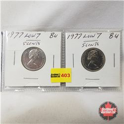 Canada Five Cent - Strip of 2: 1977 Low 7; 1977 Low 7