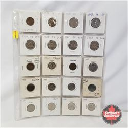 Canada Coins - Sheet of 20 - Variety: 1¢ 1934; 1936; 1939; 1947ML : 5¢ 1930; 1945; 1959; 1960; 1961;