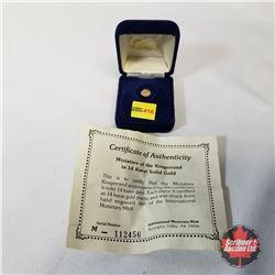 International Monetary Mint 1980 Mini Krugerrand 14K Gold COA#112456