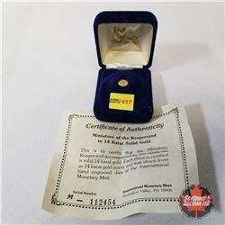 International Monetary Mint 1980 Mini Krugerrand 14K Gold COA#112454