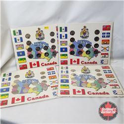 1999 Canada Province/Month Twenty Five Cent Collector Card Sets (7 Sets) : 12 Quarters Per Card
