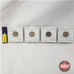 Canada Ten Cent - Strip of 4: 1941; 1942; 1950; 1950
