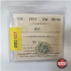 Canada Ten Cent 1953 NSF (ICCS Certified MS-64)