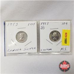 Canada Ten Cent - Strip of 2: 1953; 1953