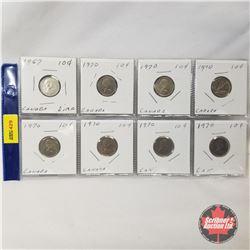 Canada Ten Cent - Strip of 8: 1967; 1970 (7)