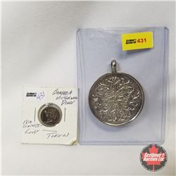"""2 Pendants : Canada Victorian Dime & Large """"North Wind Face"""" Medallion"""